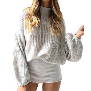 Grey Balloon Sleeve Sweater